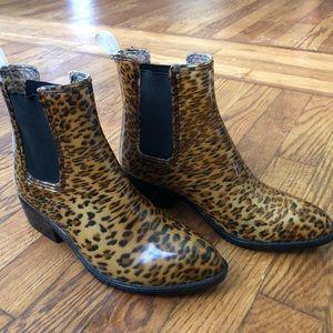 Jeffrey Campbell cheetah print rain boots